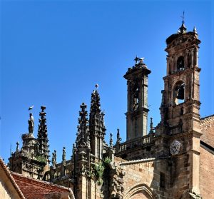 Spain, Extremadura, Caceres Province, Plasencia City ; The belfry of the cathedral and the storks in nests